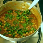 Cooked chole after sprinkling dhaniya