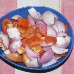 Chopped onion and tomatoes