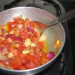 Chopped vegetables in Kadai